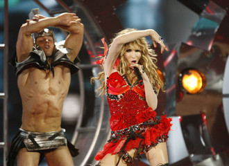 Loboda of Ukraine performs during the second semi-final rehearsals for the Eurovision Song Contest in Moscow