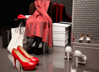 At the shoe store. Close-up of the chair, red scarf,  bag and  shopping bags while shoes lying on the floor in front of a mirror.