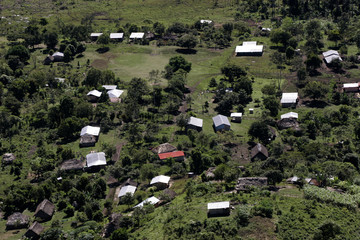A small hamlet is seen in this aerial picture near the border with Belize