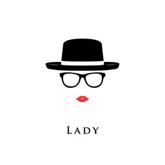 Vector illustration lady portrait of glasses and hat.