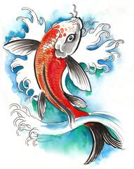 Watercolor sketch of a koi fish