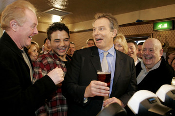 Britain's PM Blair visits a pub on set of the soap Coronation Street in Manchester.