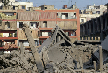A chocolate factory is seen after it was targeted by Israeli air strikes in the Hizbollah stronghold of southern Beirut