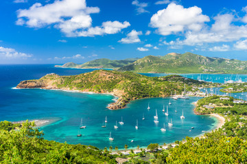 Antigua and Barbuda coastal landscape in the Caribbean.