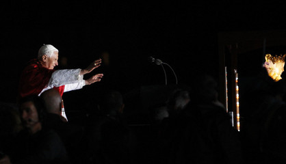 Pope Benedict XVI speaks at the end of the Marian Procession of Light at the Rosary Basilica