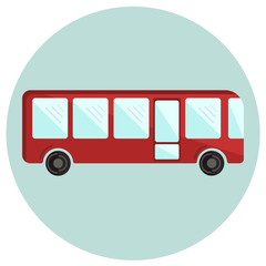 Cute colorful flat bus icon, red vector shuttle, ecological city transport