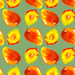 Watercolor seamless pattern, background with a pattern of tropical mango fruit. On a green background.