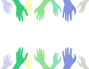 Color hands on white background