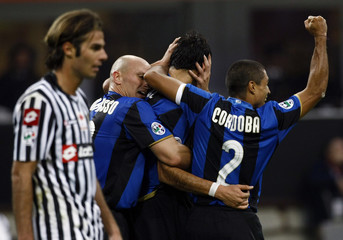 Inter Milan's Cruz celebrates after scoring against Udinese during their Serie A soccer match in Milan