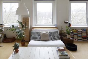 modern interior of an apartment in amsterdam