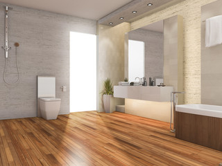 3d rendering wood bright bathroom with modern decor