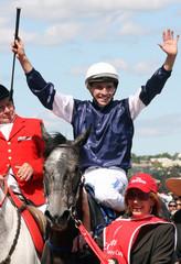 Jockey Rodd celebrates atop his mount Efficient after winning Melbourne Cup at Flemington racecourse