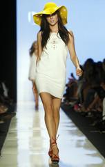 Model presents creation at Diane Von Furstenberg Spring 2009 collection during New York Fashion Week