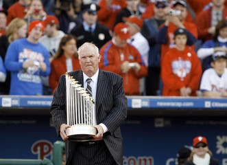 Phillies Manager Charlie Manuel holds the trophy during the Philadelphia Phillies World Series victory celebration at the ballpark in Philadelphia