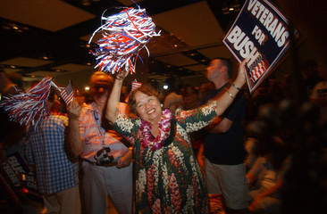 Supporter of US Vice President Dick Cheney cheers his arrival in Hawaii.