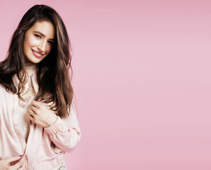 young cute disco girl on pink background smiling adorable emotions copyspace, lifestyle people concept
