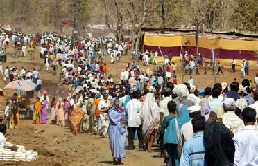Hindu activists gather at the 'Shabari Kumbh Mela' in Subir village south of western Indian city of Ahmedabad