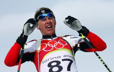 File photo of Austria's Perner competing in the men's 10 km sprint biathlon event at the Winter Olympic Games