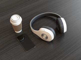 Wireless headphone and smart phone on dark wooden table. 3D rendering image.