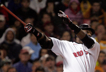 Red Sox Ortiz watches flight of home run against Oakland Athletics in the sixth inning at Fenway Park ...