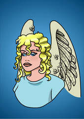 Portrait of a blonde angel. Vector illustration