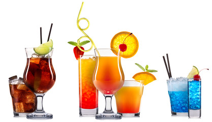 alcohol cocktail set on a white with fresh summer fruits