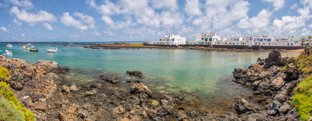 Wall Mural - Panorama of the fishing village of Orzola in Lanzarote, Canary islands, Spain
