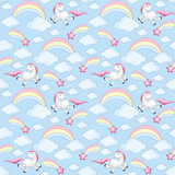 Fairy children seamless pattern with the image of cute unicorns. Colorful vector background