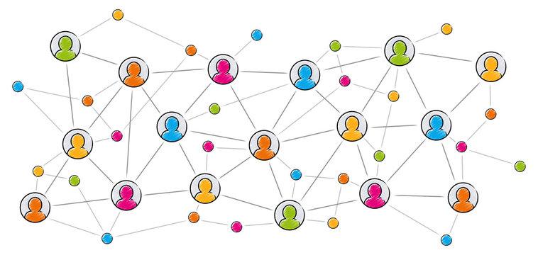 Soziales Netzwerk / Vektor, farbig, freigestellt