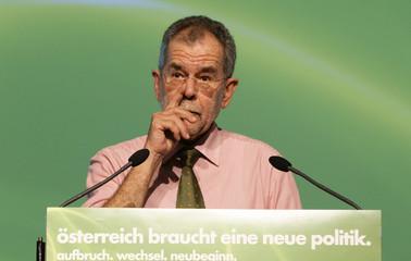 Austrian Green Party leader Van der Bellen delivers his speech at a party meeting in Graz