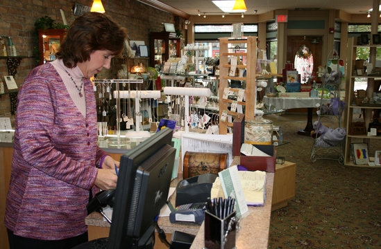 Sue Opeka at work in her store The Present Moment in Libertyville Illinois