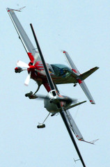 Mark Jefferies of UK and Slovene Peter Podgorsek perform during dog fight on Aero GP competition ...