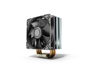 Active CPU cooler with the aluminum finned heat-sink and the fan 3d render on white
