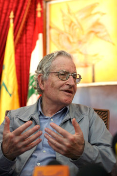 Academic and linguist Chomsky speaks to reporters during his visit to former Iraeli prison in al-Kiam village in south Lebanon