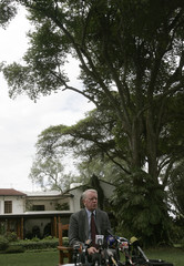 U.S. ambassador to Kenya Michael Ranneberger speaks to the media at his residency in Nairobi