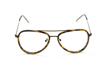 Modern fashionable spectacles on white background, Glasses
