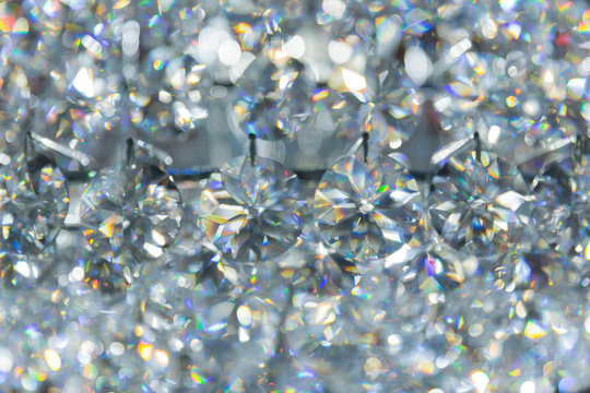 refection caustic of diamond crystal jewel light reflect blur pattern texture background.