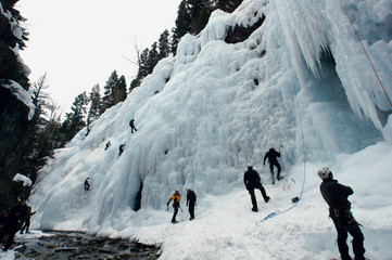 -PHOTO TAKEN 05MAR05- Climbers swarm over the frozen waterfalls at the Ouray Ice Park near Ouray, Co..