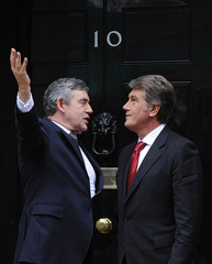 Britain's PM Brown greets Ukraine's President Yushchenko on the steps of 10 Downing Street, London