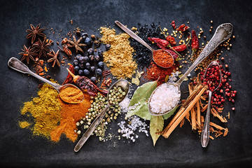 Still life of a variety of dried culinary spices