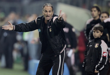 Palermo's coach Guidolin reacts during the Italian Serie A soccer match against Inter Milan in Palermo