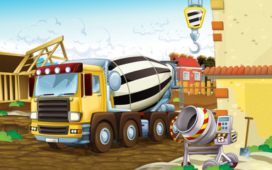 cartoon scene of a construction site with different heavy machines