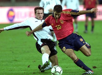 AUSTRIA'S HILDEN FIGHTS FOR BALL WITH SPAIN'S GONZALEZ DURING WORLD CUP QUALIFIER IN VIENNA.