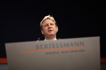 Bertelsmann AG CEO Ostrowksi attends the company's annual news conference in Berlin
