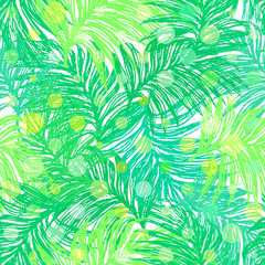 Jungle Day. Ink hand drawn seamless pattern with bright sunlit jungle leaves.