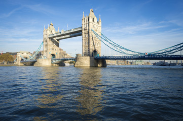 Bright scenic view of the landmark Tower Bridge above the River Thames in London, England