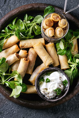 Fried spring rolls with white yogurt sauces, served in terracotta plate and fry basket with fresh green salad over black texture background. Flat lay. Asian food