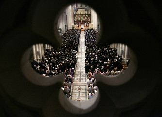 The pews are filled during the state funeral service for former President Ford at the Washington National Cathedral in Washington