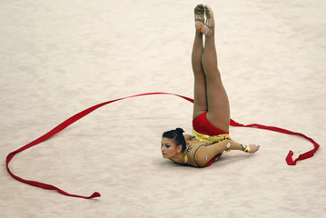 Dora Vass of Hungary performs with the ribbon during the qualifying round of the the Rhythmic Gymnastics World Championships in Ise