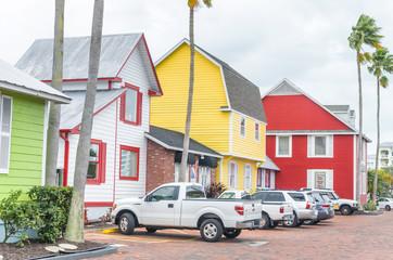 SARASOTA, FL - FEBRUARY 2016: Beautiful colourful homes in Siesta Key. Siesta Key is a famous destination in Florida